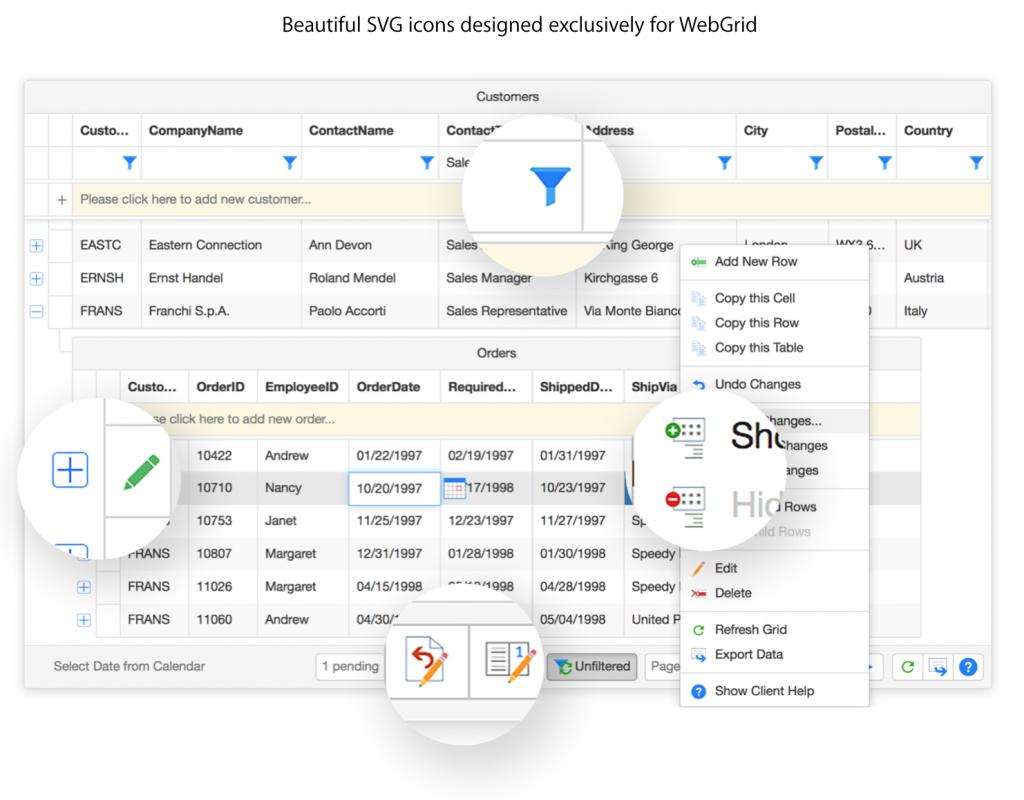 Redesigned WebGrid UI with SVG